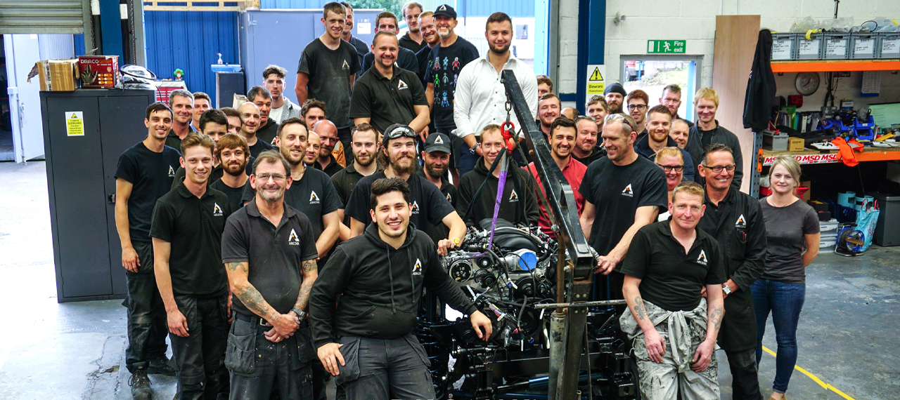 The Arkonik team grouped around an LS3 engine