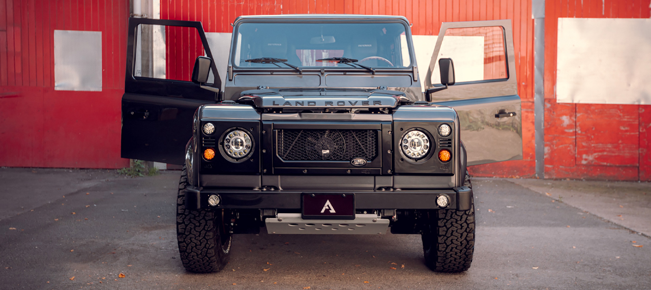 Front view of Defender with doors open.