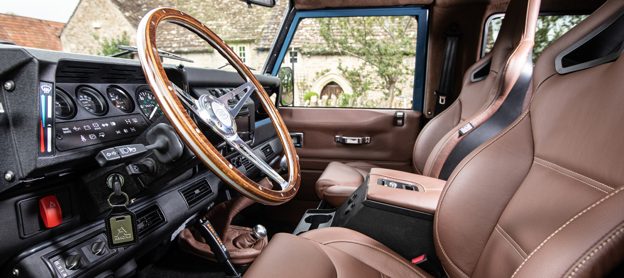 Defender interior with brown leather sport seats