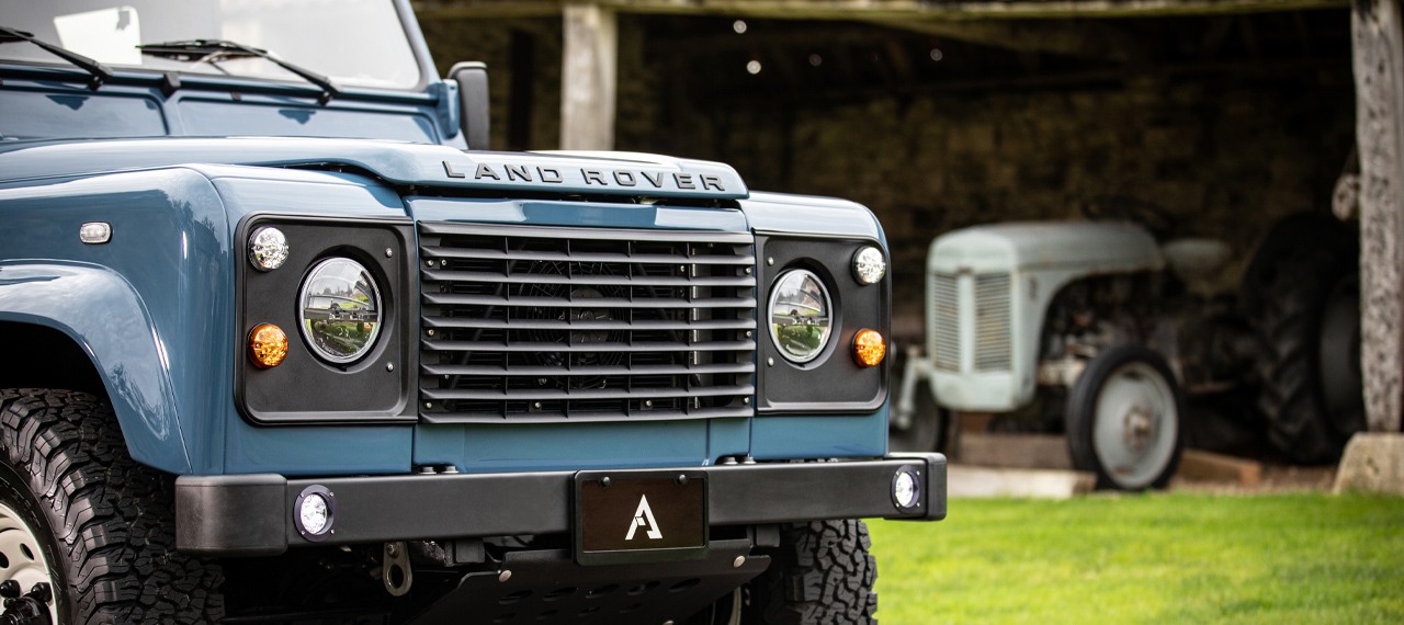 front end detail of Land Rover Defender
