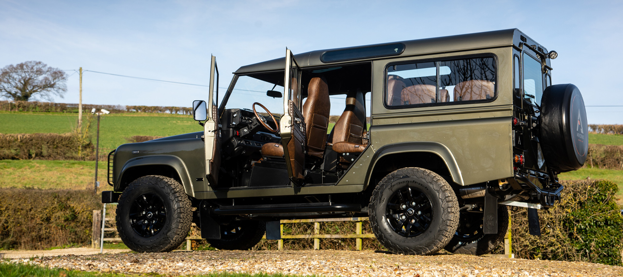 Defender 110 with front and rear doors open