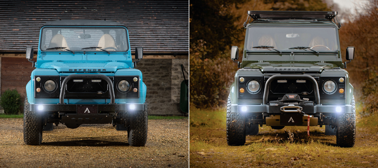 Split front view of two Defenders with lights on
