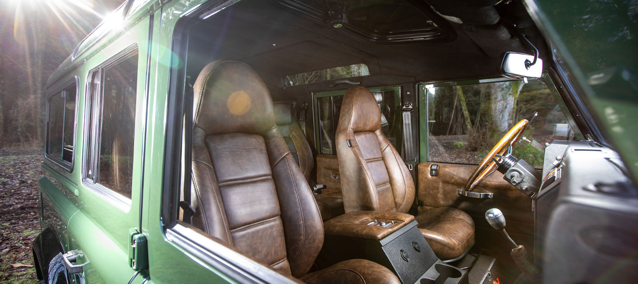 View of Defender front seats with brown leather trim