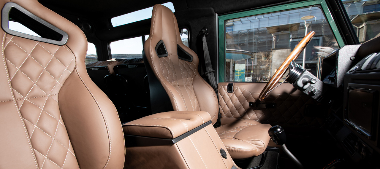 Interior of Arkonik D90 with brown leather upholstery
