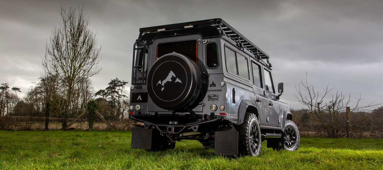 Rear view of Land Rover Defender in a field