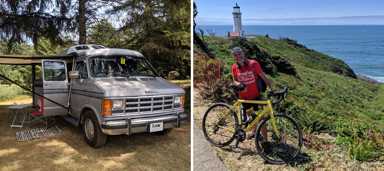 Campervan and Andy Hayes with bike on the Oregon Coast