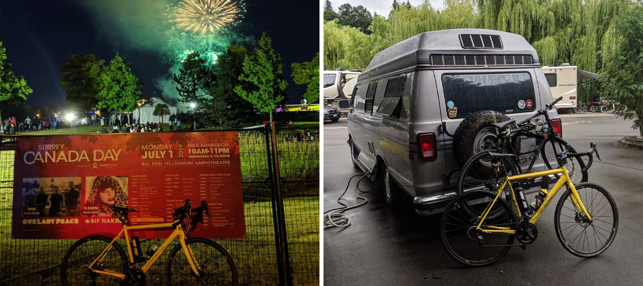 Bike with fireworks behind and campervan